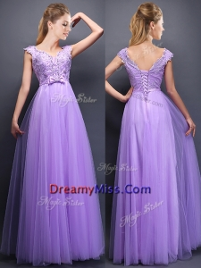 Lovely Beaded and Bowknot V Neck Prom Dress in Lavender