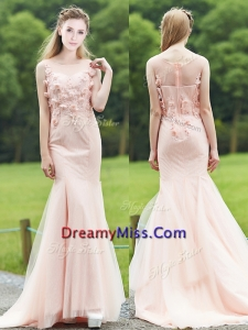 Luxurious See Through Light Pink Mermaid Prom Dress with Brush Train