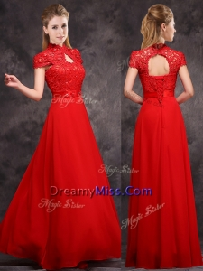 New Arrivals Applique and Laced High Neck Prom Dress in Red