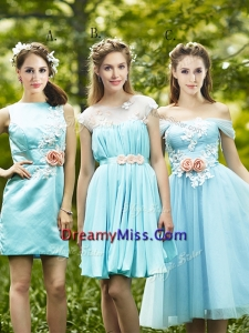 Most Popular Light Blue Prom Dress with Appliques for Spring
