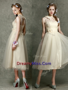 Pretty High Neck Champagne Prom Dress with Lace and Hand Made Flowers