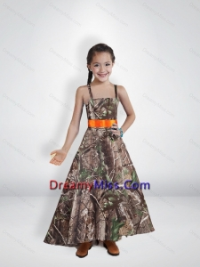 2015 Comfortable Princess Straps Camo Little Flower Girl Pageant Dresses with Belt