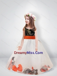 Pretty Ball Gown Scoop Belt 2015 Little Camo Flower Girl Pageant Dresses