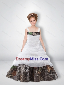 2015 Cute A Line 2015 Camo Little Flower Girl Pageant Dresses with Beading