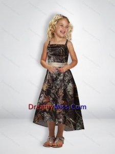 2015 Elegant A Line Straps Tea Length Camo Little Flower Girl Dresses with Beading