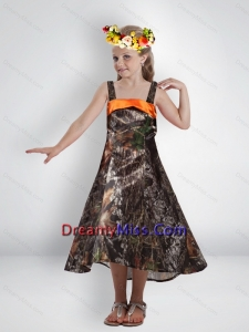 2015 Elegant High Low Straps Camo Little Flower Girl Pageant Dresses with Sashes