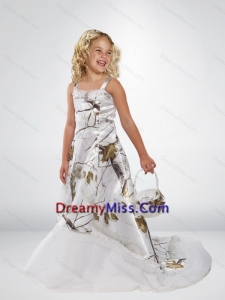 2015 Popular A Line Straps Camo Little Flower Girl Pageant Dresses with Brush Train Beading
