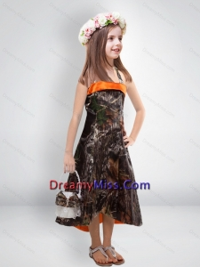 Perfect 2015 High Low One Shoulder Camo Little Flower Girl Pageant Dresses