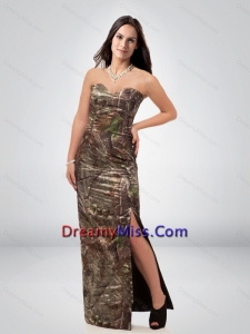Discount Column Sweetheart Camo Prom Dress with High Slit