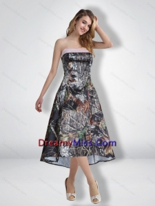 Modest Empire Strapless Camo Prom Dresses with Ribbons for 2015