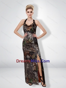 Romantic 2015 Column Halter Top Camo Prom Dresses with High Slit