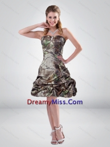 2015 Perfect A Line Strapless Camo Prom Dresses with Beading