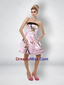 Comfortable Short Strapless Baby Pink Camo Prom Dresses
