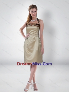 Discount Column Halter Top Knee Length Side Zipper Camo Prom Dresses