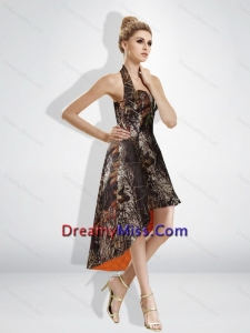Fashionable High Low Halter Top Camo Prom Dresses in Multi Color
