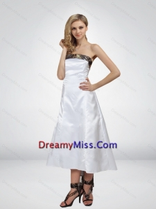 Luxurious High Low Strapless Camo Prom Dresses in White