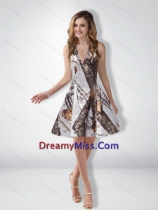 Unique A Line Halter Camo Prom Dresses with Ruching