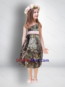 2015 Cheap One Shoulder Tea Length Little Camo Flower Girl Pageant Dresses