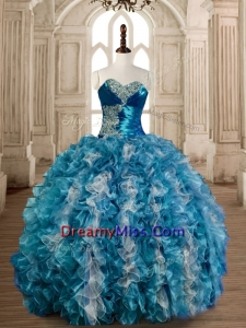 Luxurious Beaded Bust and Ruffled Sweet 16 Dress in Organza