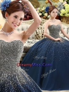 Traditional Beaded Bodice Sweet 16 Dress in Navy Blue