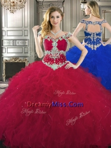 Traditional Off the Shoulder Cap Sleeves Quinceanera Dress with Beading and Ruffles