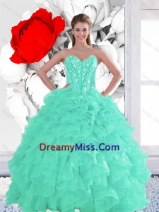 2016 Summer Perfect Appple Green Quinceanera Dresses with Beading and Ruffles