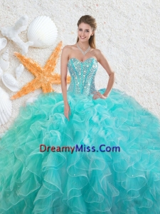 Elegant Beading Sweetheart 2016 Quinceanera Dresses in Aqua Blue