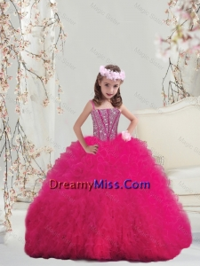 Lovely 2015 Spaghetti Hot Pink Little Girl Pageant Dresses with Beading and Ruffles