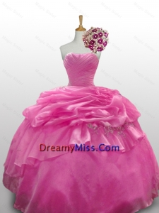 2015 Romantic Sweetheart Rose Pink Quinceanera Dresses with Paillette