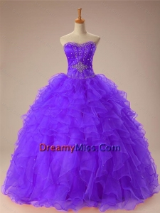 2015 Beautiful Sweetheart Beaded Quinceanera Dresses with Ruffles