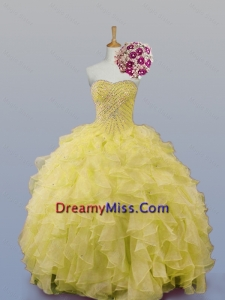 Popular Sweetheart Dress for Quince with Beading and Ruffles