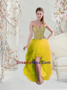 2016 Classical High Low Sweetheart Yellow Dama Dresses with Beading and Ruffles