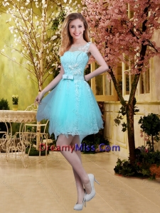 2016 Fall Perfect Scoop Beaded Dama Dresses with Appliques in Aqua Blue