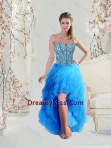 1234ff42817 2016 Sophisticated High Low Sweetheart and Beaded Teal Dama Dresses