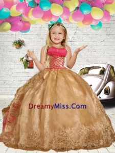 2015 Fall Fashionable Gold Embroidery Little Girl Pageant Dress with Ruffles
