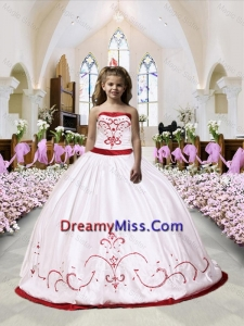 2015 Fall Luxurious Embroidery Satin Little Girl Pageant Dress in White