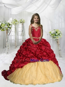 2015 Fall Luxurious Spaghetti Straps Pick Ups Little Girl Pageant Dress with Sweep Train
