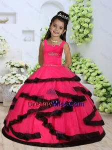 2015 Summer Beautiful Straps Beading Little Girl Dress with Layers and Ruching