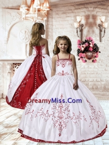 2015 Winter New Style Spaghetti Straps White Satin Little Girl Pageant Dress with Embroidery
