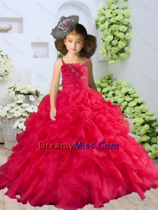 2015 Winter New Style Straps Beading and Ruching Little Girl Pageant Dress in Coral Red
