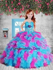 Pretty 2015 Summer Appliques Pink and Blue Litttle Girl Pageant Dress with Hand Made Flower and Ruffles