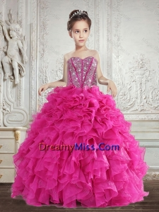 Pretty 2015 Summer Beading and Ruffles Little Girl Pageant Dress in Fuchsia