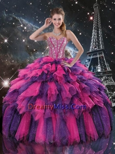 2016 Luxurious Beaded and Sweetheart Quinceanera Dresses in Multi Color