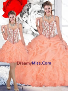 2016 Perfect Straps Orange Detachable Quinceanera Dresses with Beading