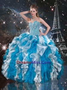 Luxurious Beaded White and Blue 2016 Sweet 16 Gowns with Ruffles
