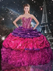 Popular Beaded Multi Color Quinceanera Dresses with Pick Ups and Ruffles