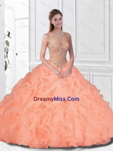 2016 Perfect Beaded and Ruffles Watermelon Quinceanera Gowns with Bateau