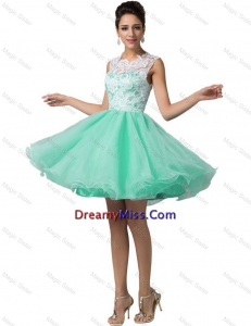 Lovely Laced Scoop A Line Prom Dresses in Apple Green