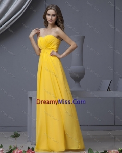 Lovely Empire Ruching Yellow Long Prom Dresses