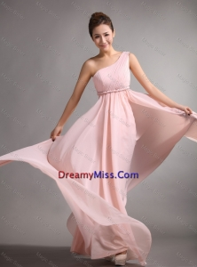 Pretty Empire One Shoulder Prom Gowns 2016 with Belt and Ruching